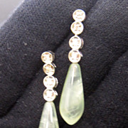 Chalcedony and Diamond Drop Earrings