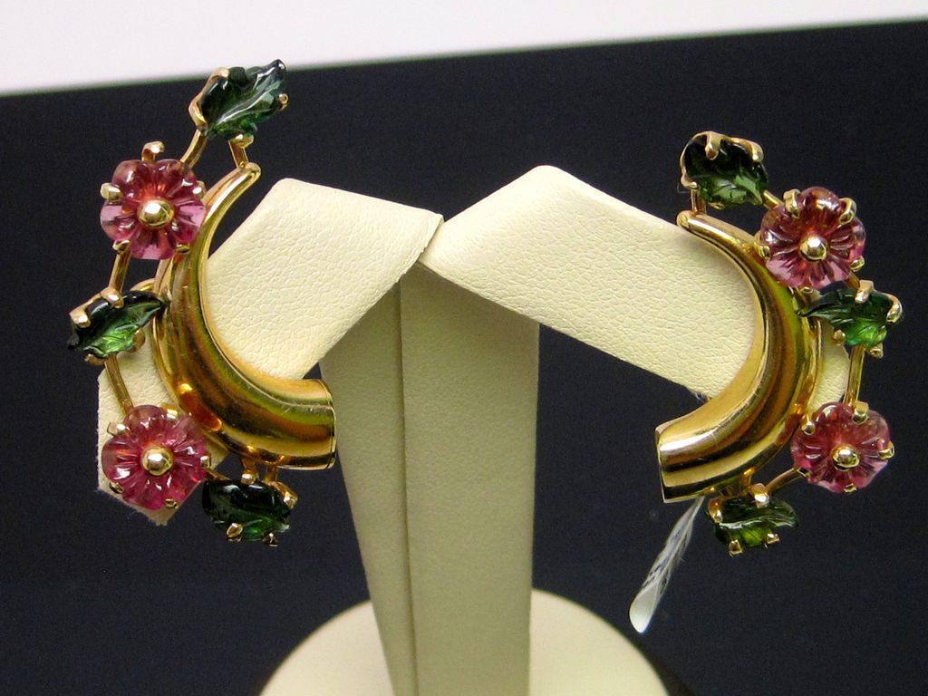 Carved Pink and Green Tourmaline Earrings