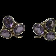 Amethyst Clover Earrings in 14K Yellow Gold