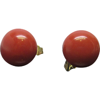 Victorian Coral Button Earrings in 18K Yellow Gold