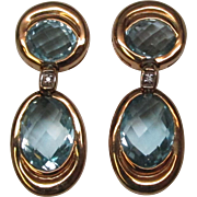 10 Carat Aquamarine Diamond 18 Karat Gold Earrings