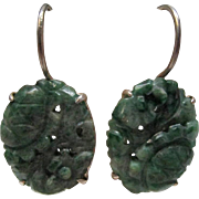 Arts and Crafts Carved Jade Sterling Silver Earrings