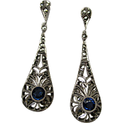 Art Deco Sterling Silver Marcasite Dangle Earrings