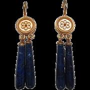 Etruscan Revival 18 Karat Gold Lapis Lazuli Drop Earrings