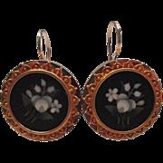 Etruscan Revival Gold Pietra Dura Flower Earrings
