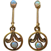 Edwardian Opal Gold Dangle Earrings