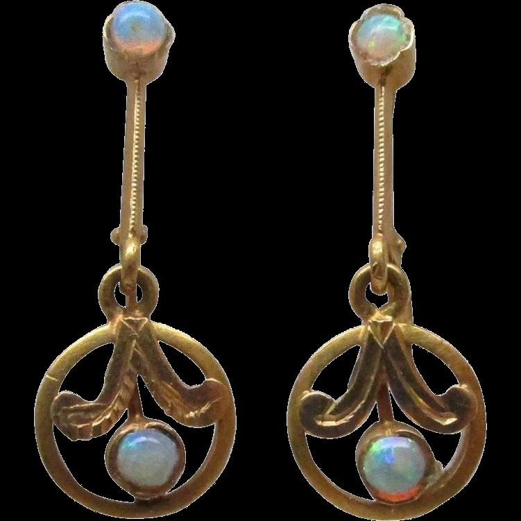 Edwardian Opal Gold Dangle Earrings