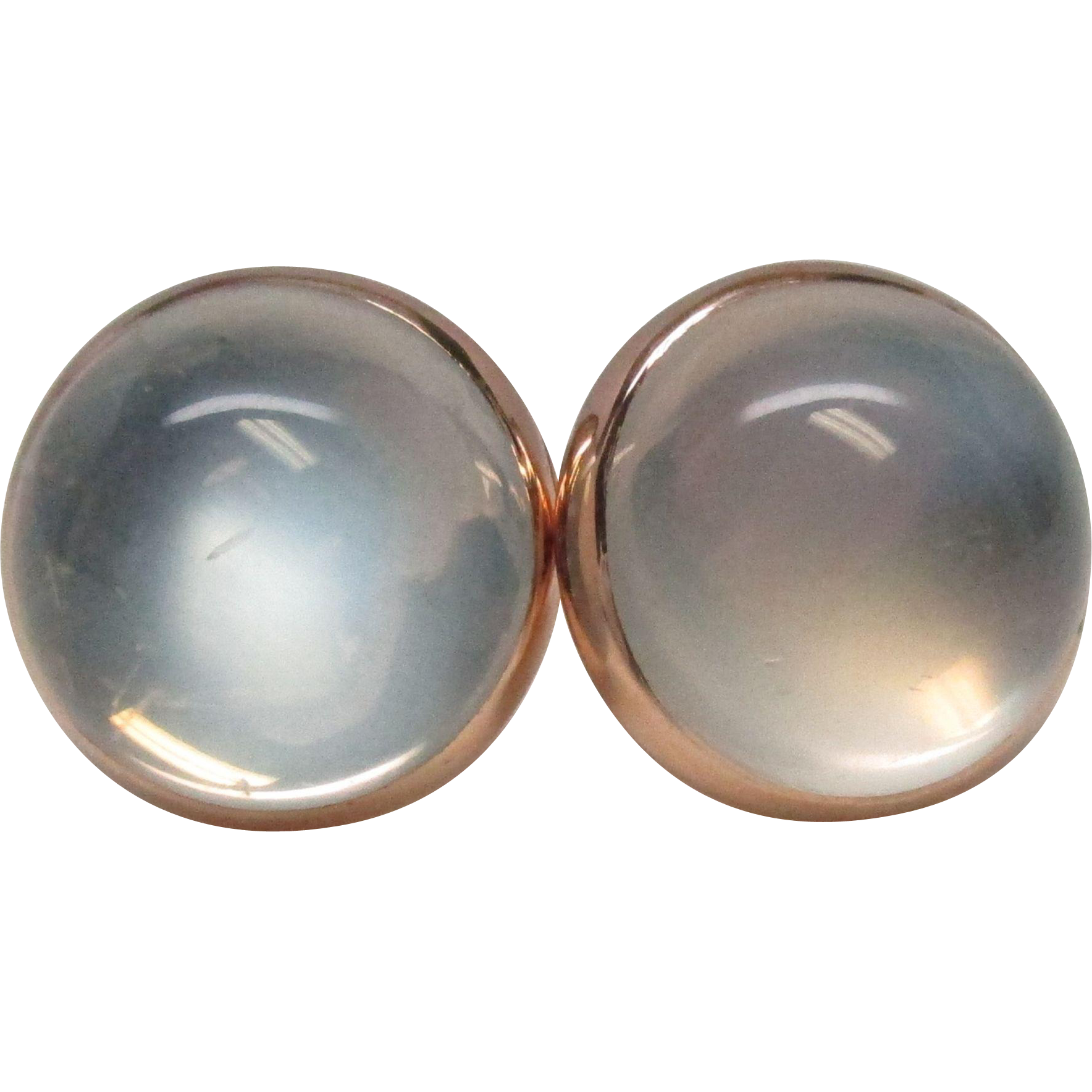 Art Deco 14 Karat Gold Moonstone Button Earrings
