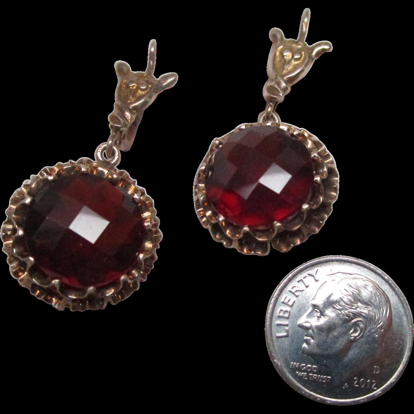 Edwardian Gold Garnet Drop Earrings