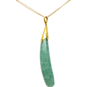 24K Gold Green Chalcedony Drop Finger Pendant