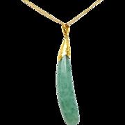 24K Gold Green Chalcedony Drop Finger Pendant
