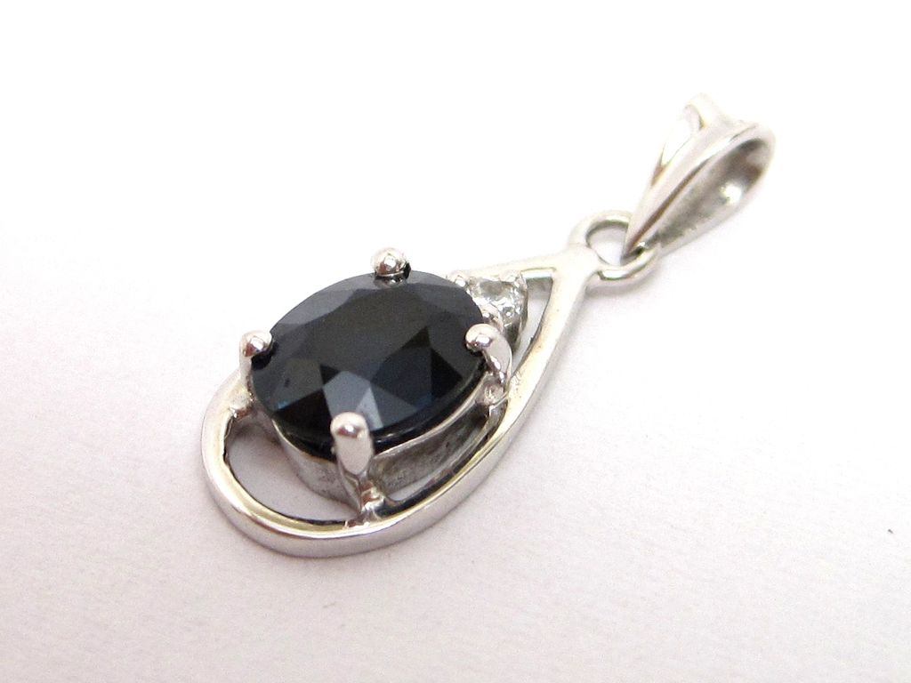 1ct Sapphire Diamond 18K White Gold Drop Pendant