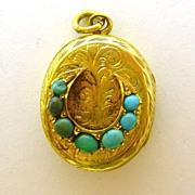 Victorian 14K Gold Turquoise Horseshoe Locket Engraved