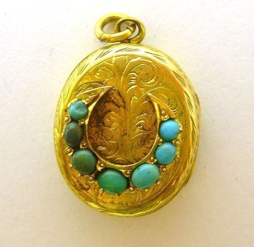 Victorian 14K Gold Turquoise Horseshoe Locket Engraved