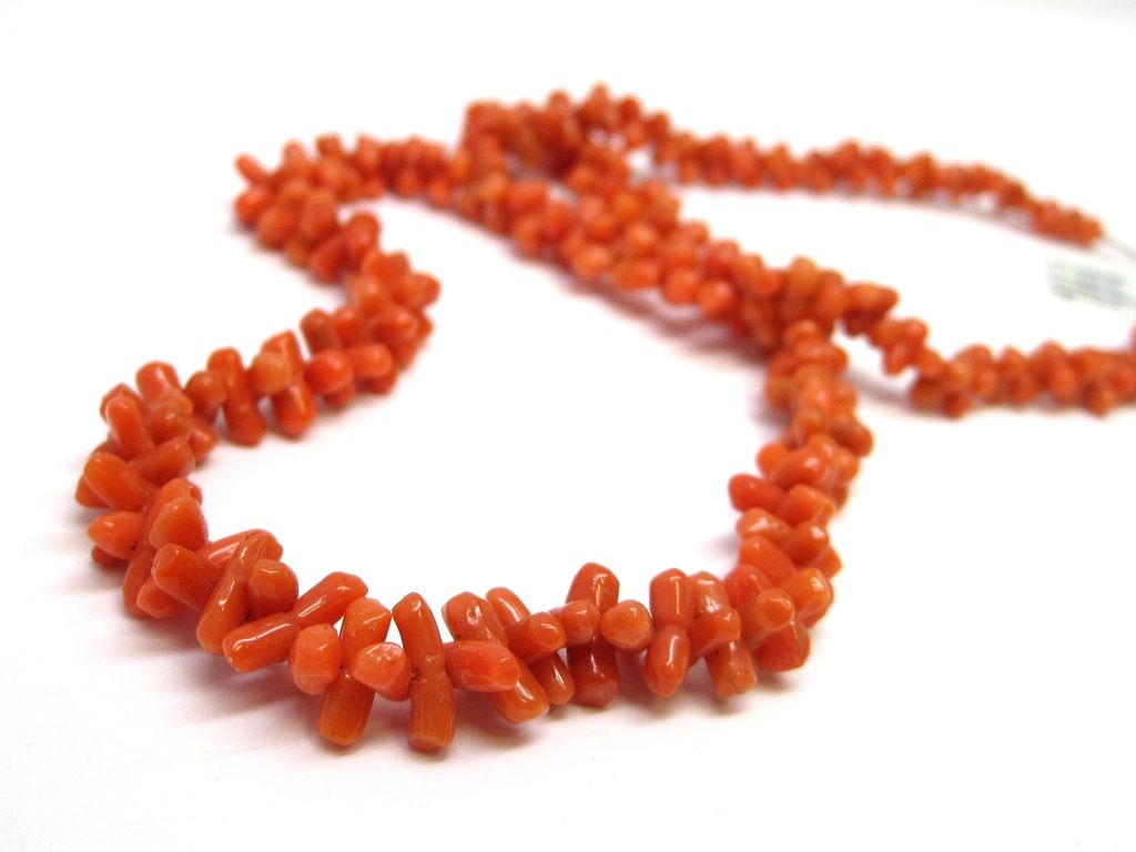 Victorian Red Branch Coral Bead Necklace