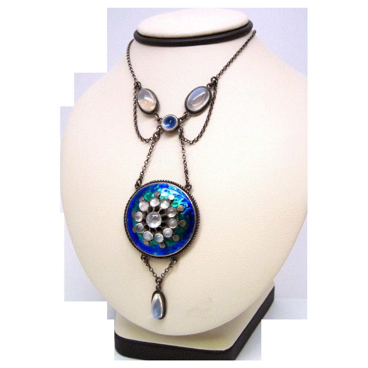 Arts & Crafts Handmade Moonstone Multi-color Enamel Necklace