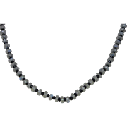 Faceted Moonstone and Black Onyx Bead Necklace With 14K Yellow Gold Clasp