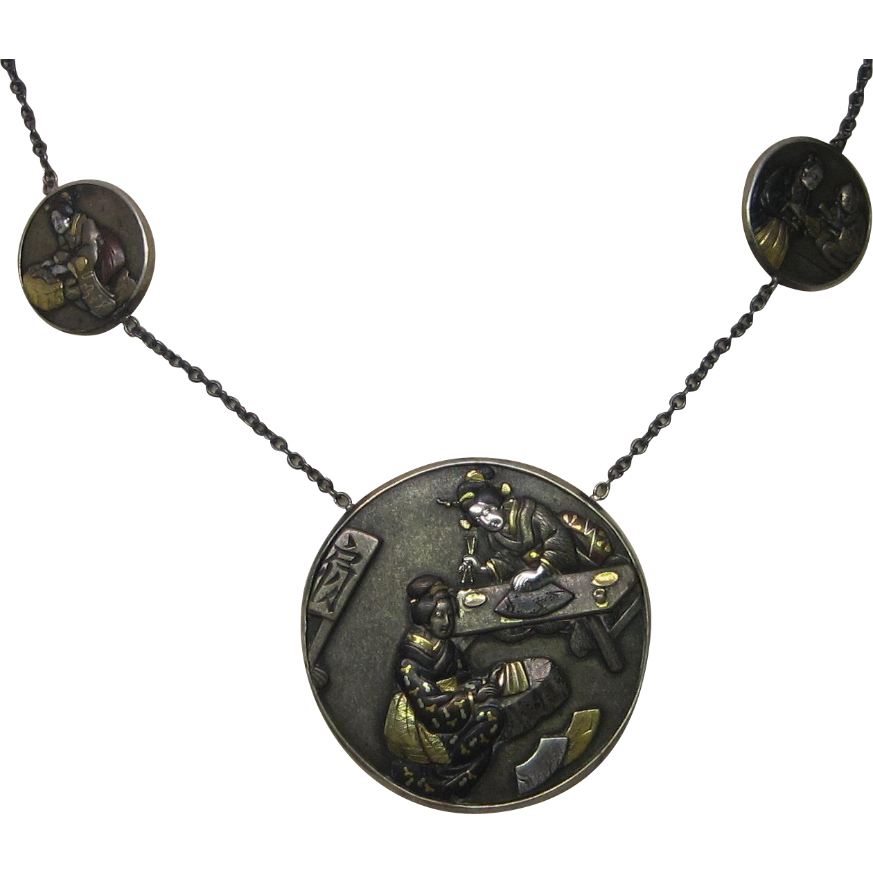 Victorian Japanese Shakudo Necklace in Silver