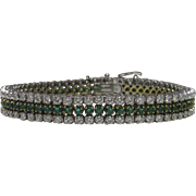 Emerald and Diamond 18K Yellow & White Gold Line Bracelet