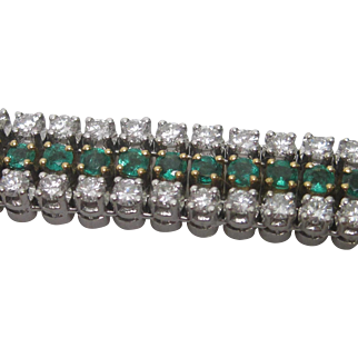 18K Yellow & White Gold Emerald and Diamond  Line Bracelet