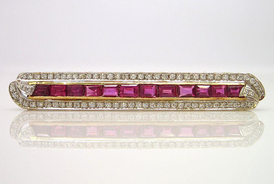 Art Deco Platinum 14K Ruby Diamond Bar Pin Brooch