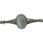 Edwardian Diamond Moonstone Platinum Filigree Brooch