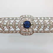 Art Deco c. 1925 Platinum Sapphire Diamond Bar Pin