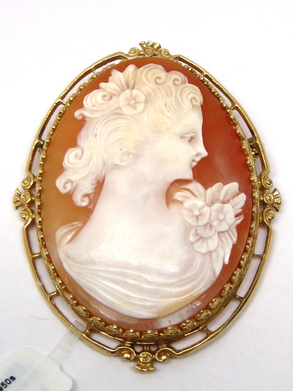 Large 14K Gold Shell Cameo Carved Pin Pendant