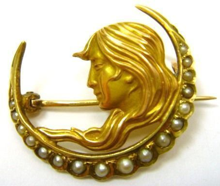 Art Nouveau Newark 14K Pearl Crescent Pin