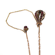 Victorian Czech Garnet 14K Gold Stick Pin w/ Safety