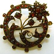 Victorian Flower Garnet Pin