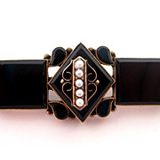 Victorian Black Onyx & Pearl 14K Rose Gold Pin