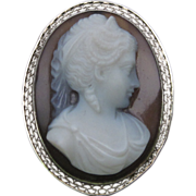 1930s Agate Cameo in 14K White Gold Filigree
