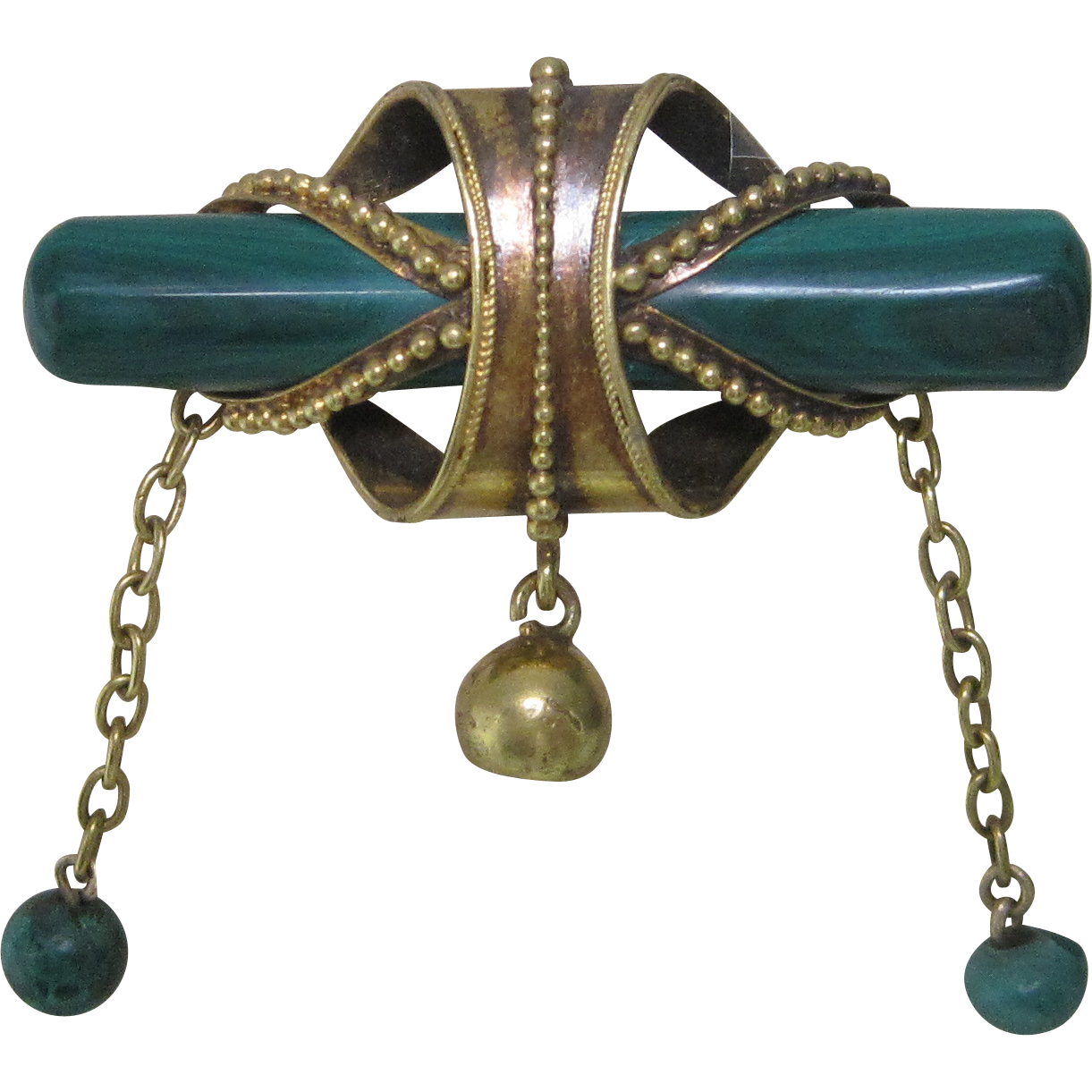 1890 Victorian Etruscan Revival Malachite Pin in 18K Yellow Gold