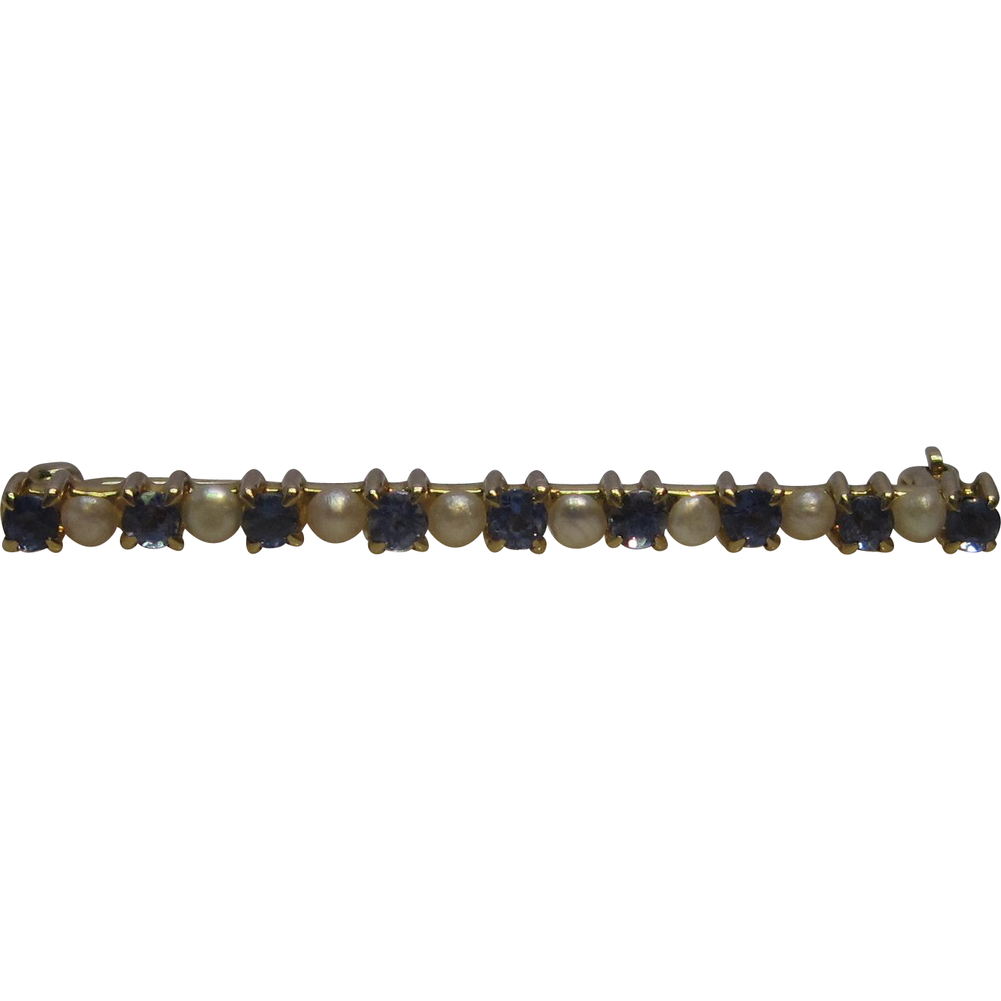 Victorian Montana Sapphire and Freshwater Pearl Bar Pin in 14K Yellow Gold