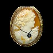 Large 14K Carved Shell Diamond Cameo Pin/Pendant
