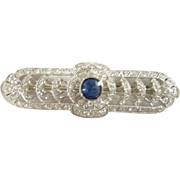 Art Deco Platinum Sapphire and Diamond Bar Pin