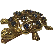 14 Karat Gold Sapphire Turtle Pin