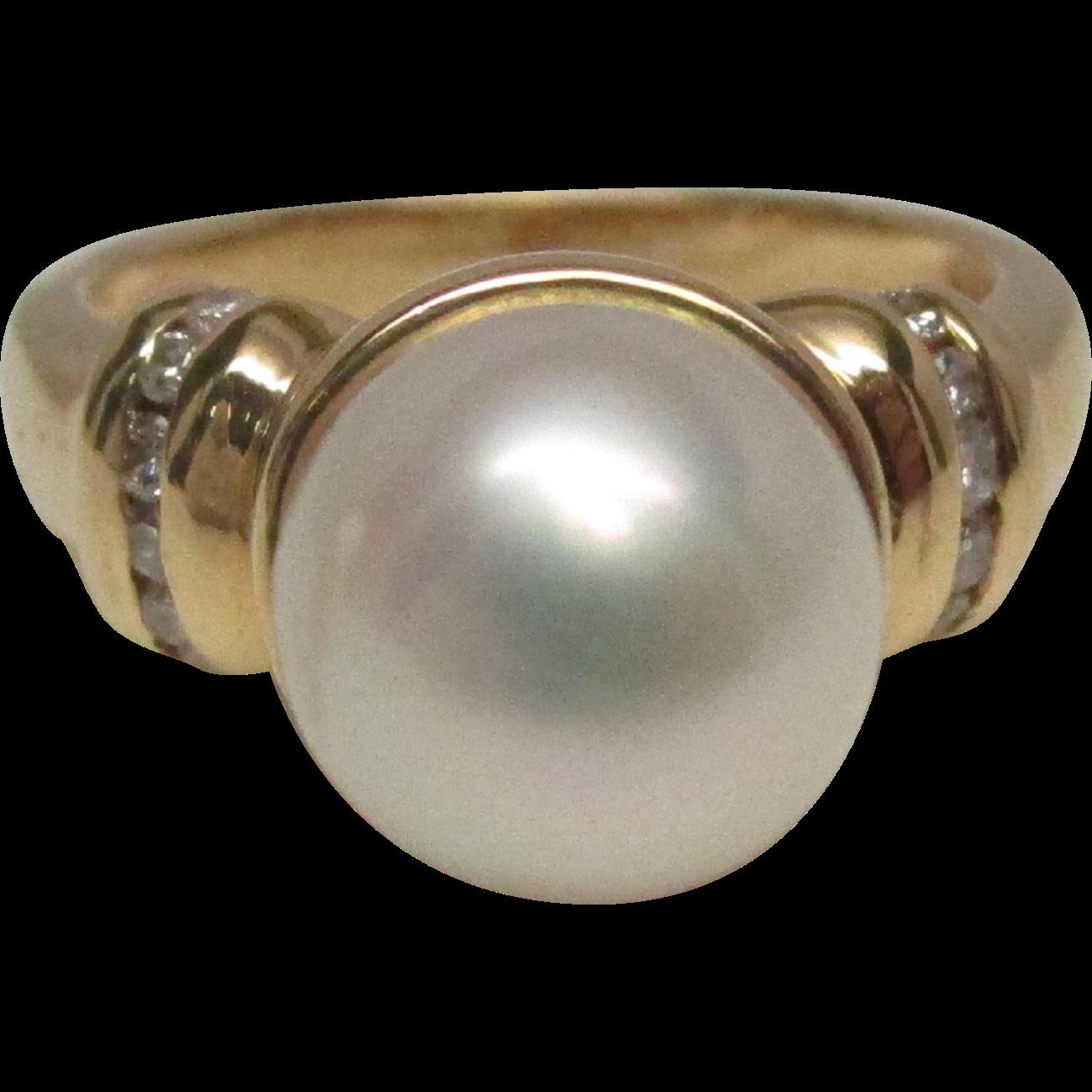 Pearl Diamond 14 Karat Gold Engagement Ring