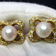 Retro Pearl and Diamond Earrings