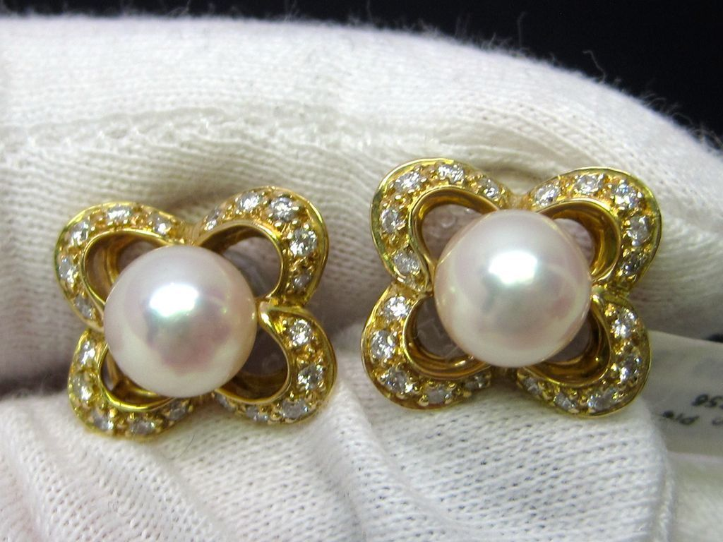 Retro Pearl and Diamond Earrings