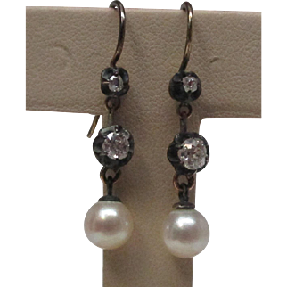 Victorian Silver over Gold Diamond and Pearl Dangle Earrings