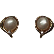 Pearl Diamond 14 Karat Gold Earrings