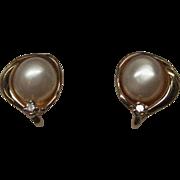 Pearl Diamond 14 Karat Gold Earrings