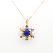 Victorian Lapis Lazuli Diamond & Pearl Pendant in 14K Rose Gold