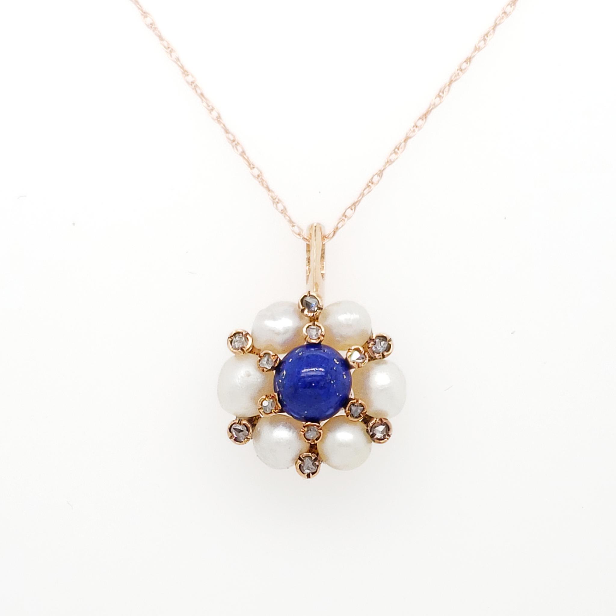 Victorian Lapis Lazuli Diamond & Pearl Pendant in 14K Rose Gold