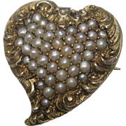 Victorian Heart Pin and Pendant in 14K Yellow Gold With Seed Pearls