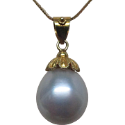 15 mm South Seas White Pearl 18 Karat Gold Pendant