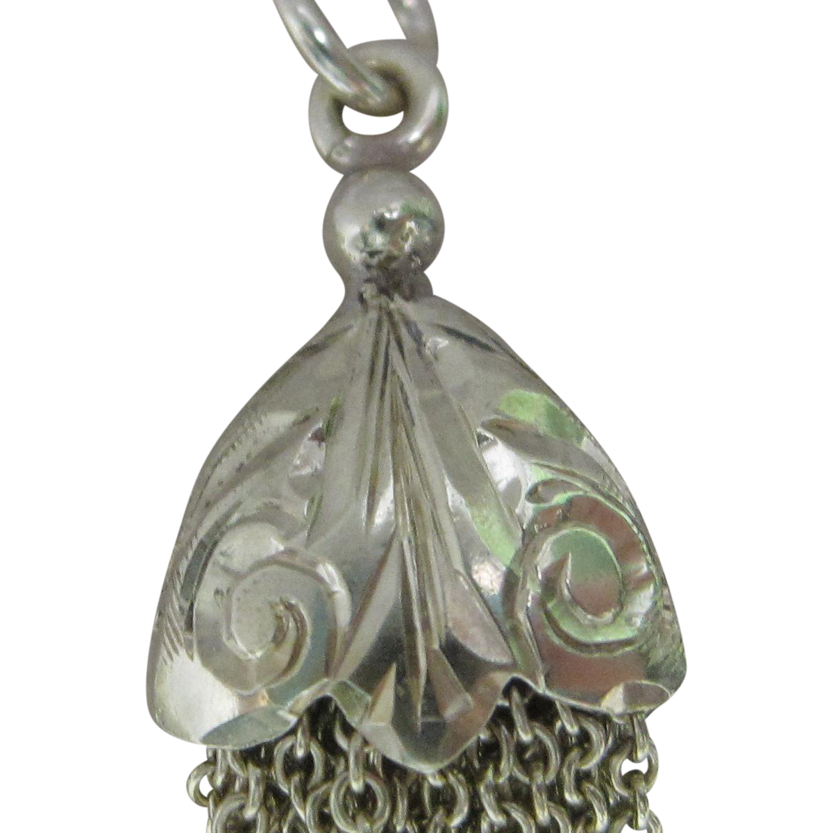 1925 Art Deco Engraved Tassel Charm in 14K Green Gold