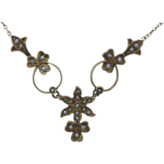 Victorian 14K Yellow Gold Pearl And Flower Necklace